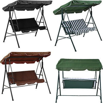 Garden Patio Metal Swing Chair Seat 2/3 Seater Hammock Bench Swinging Cushioned
