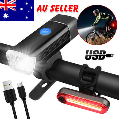 Bike Bicycle Lights USB LED Front Back Headlight Set Mountain Rechargeable