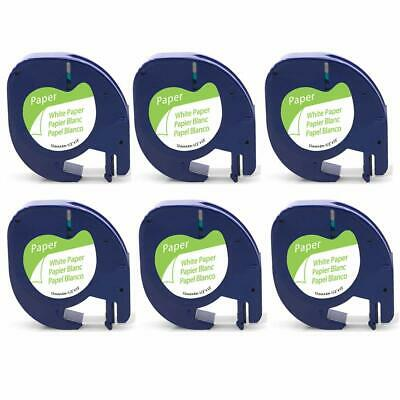 6PK Compatible DYMO 10697 (91330) Self-Adhesive White Paper Labeling Tape (12mm)