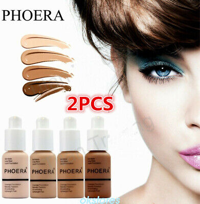 2*PHOERA Liquid Foundation Cosmetic Long lasting Concealer Make Up Full Coverage
