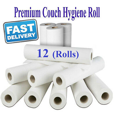 White 2 ply Couch Hygiene Rolls Medical Roll Bed perforated 50cm wide 12 rolls