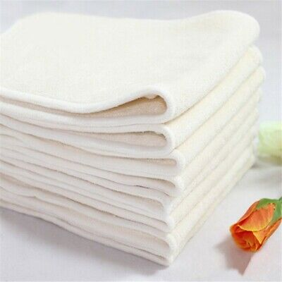 4 Layers Pure Bamboo Terry Baby Cloth Nappy Inserts Bulk Pack of 5 or 10