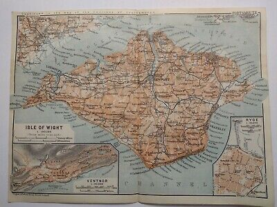Original Vintage Map Isle Of Wight 1910 excellent condition, used, in colour