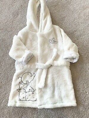 Mothercare Dressing Gown Size up to 6 Months White With Cute Details, super cosy