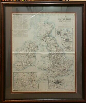 """Vintage Railway Map of the British Isles Professional Mat & Framed 17"""" x 21"""""""
