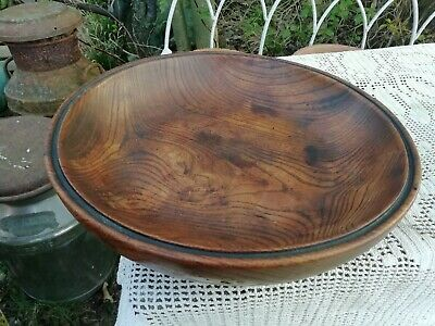 Antique 1920's/30's Turned English Elm Wood Fruit Bowl Wonderful Grain & Patina