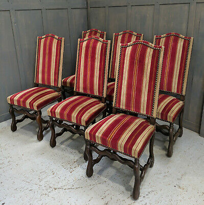 Six Flamboyant Carolean Style High Back Oak Chairs with Striking Red Upholstery