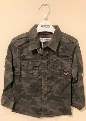 New Exstore Minoti Boys Yay 10 Camoflage Shirt Brown 100% Cotton Ages 9-24 M