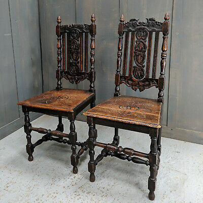 Pair of Antique Carolean Style Carved Oak Chairs 'Seconds'