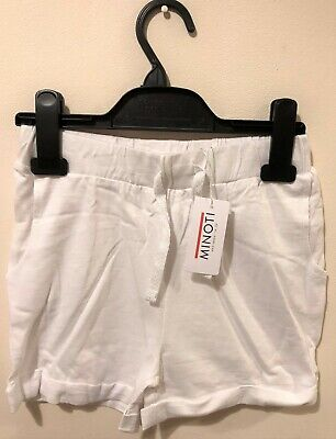 New Exstore Minoti Girls Turn Up Cuff Jersey Shorts White 100% Cotton Ages 3-11Y