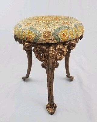 Louis XVI cast iron vanity stool chair seat ornate French Provincial vintage