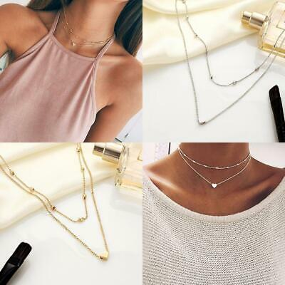 New Simple Double Layers Chain Heart Pendant Necklace Choker Women WT88 07