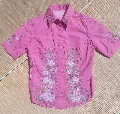 Maharishi Girls Pink Short Sleeve Shirt with AMAZING Bead Embroidery Age 10 yrs
