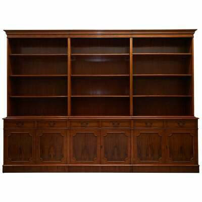 Rrp £8000 Flamed Yew Wood Bradley England Triple Bank Library Bookcase Cupboard