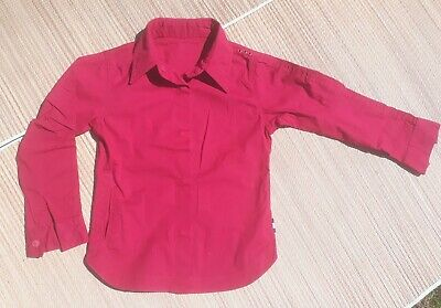 Maharishi Girls Rich Red Long Sleeve Shirt with Rose Fairy Embroidery Age 6/7