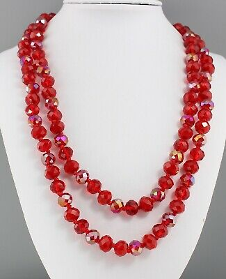 Vintage 70'S Red Ab Aurora Borealis Crystal Glass Bead Long Necklace