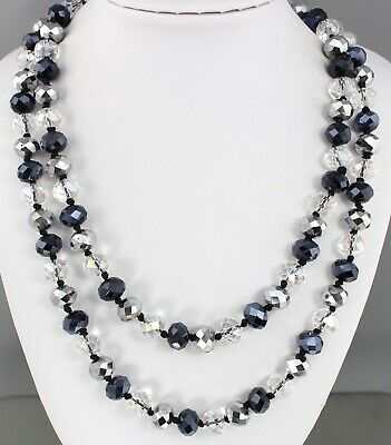 Vintage 70'S Silver Tone Black Aurora Borealis Crystal Glass Bead Long Necklace
