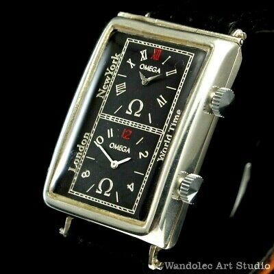 Vintage Men's Wrist Watch OMEGA Art Deco Silver Men Black Mens Wristwatch Swiss
