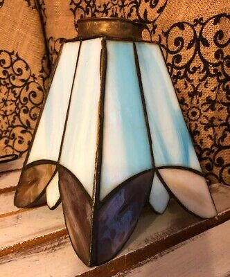 Antique Stained Glass Lamp Shade Arts & Crafts Period 4 Panel Slag Glass Shade