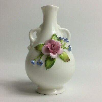 Coalport England White Miniature Urn Vase Applied Roses + Forget-me-nots 3 3/4""