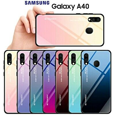 COVER per Samsung Galaxy A40 ORIGINALE Gradient Glass con RETRO VETRO TEMPERATO