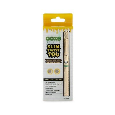 Ooze - Slim Twist PRO Gold - Variable Voltage Battery, USB Charger, and Coils