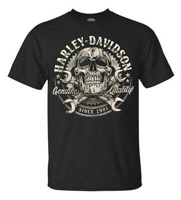 Harley-Davidson Men's Skull & Wrenches Crew Neck Short Sleeve Tee - Black