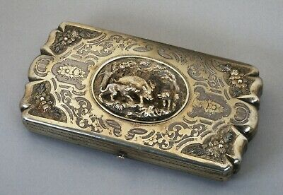 Ornate High-Quality Silver Cheroot Case/ French 19th Century-Hunting Dogs & Boar