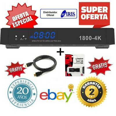 Receptor Iris 1800 4K  + Usb 16Gb Y Cable+ Mrw 24H + Cable Hdmi+ 24 Horas