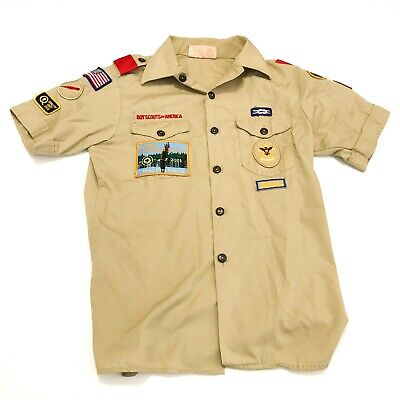 BSA Boy Scouts of America Youth Large Official Uniform Shirt w/ Patches Beige