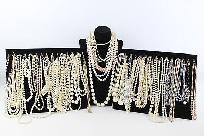 40 x Vintage & Retro FAUX PEARL NECKLACES Mixed Lengths, Styles & Eras