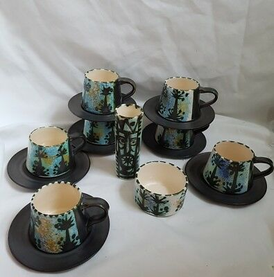 ❀ڿڰۣ❀ CELTIC POTTERY NEWLYN Folk Design CUPS, SAUCERS & SUGAR BOWL ❀ 1960s Rare