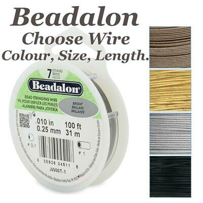 Beadalon Wire 7 Strand Stainless Steel Bead Stringing Choose Colour Size Length
