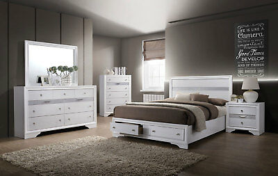 DELTA MODERN WHITE Finish 5 pieces Bedroom Suite w. Queen ...