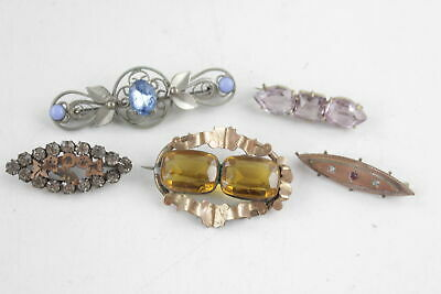 5 x True Vintage & Antique BROOCHES inc. Amethyst Set, Gold Plated, Rhinestones