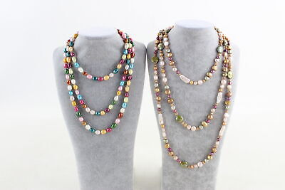 2 x Long Length PEARL Rope NECKLACES inc. Multi Coloured Dyed & Natural Pearls