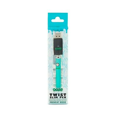 Ooze - Slim Twist Pen - Teal - Variable Voltage Battery, and USB Charger