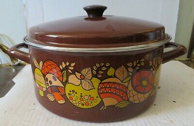 Vintage Enamel Mushroom Vegetable Pot w/lid Dutch Oven Cookware Stock1960-70s