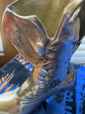"""Ladies Victorian Solid Brass Boot by Leonard--9"""" Tall 7.5"""" Long / Vase"""