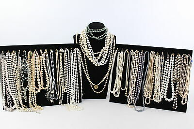 40 x Vintage & Retro FAUX PEARL STATEMENT NECKLACES inc. Gemstone