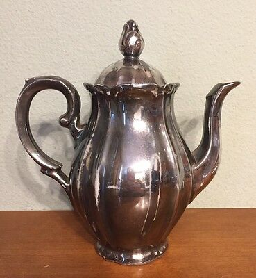 Vintage Silver Overlay Porcelain Teapot Made In Germany U.S. Zone Bavaria