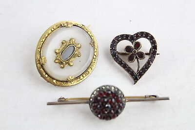 3 x True Antique BROOCHES inc. Table Cut Garnet, Calcedony, Bohemian Garnet