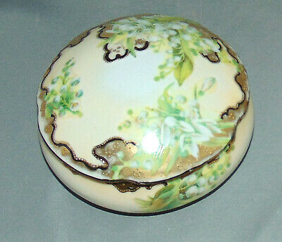 Vintage Porcelain Powder  Dresser  Box Lily of the Valley Hand Painted Gold Bead
