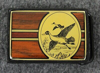 Vintage 80's 1984 Ducks Geese Outdoors Solid Brass Nap Inc Belt Buckle