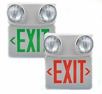 Red LED Exit Sign & Incandescent Emergency Light-Monument Combination-120/277VAC