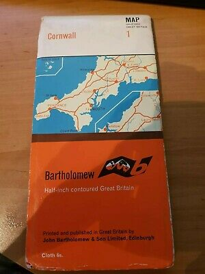 Vintage Bartholomew Cloth Map 1 Cornwall