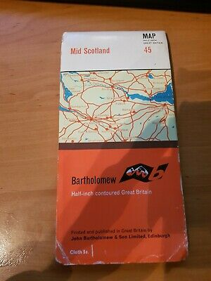Vintage Bartholomew Cloth Map 45 Mid Scotland