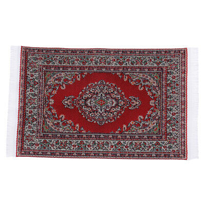 1Pcs 1:12 Dollhouse miniature embroidered carpet woven rug floor coverings H#