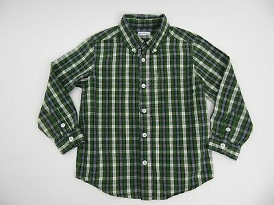 Green Dog Boys Long Sleeve Button Front Green Navy White Plaid Shirt Size 4 XS