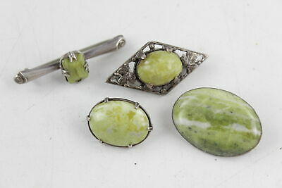4 x Vintage / Antique .925 Sterling Silver BROOCHES Set w/ Conmarra Marble (26g)